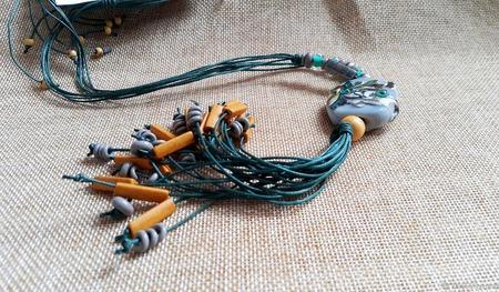 Колье на вощеных шнурах с кистью ручной работы на заказ