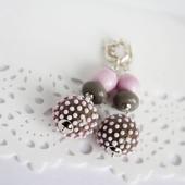 Серьги серебряные розово-серые