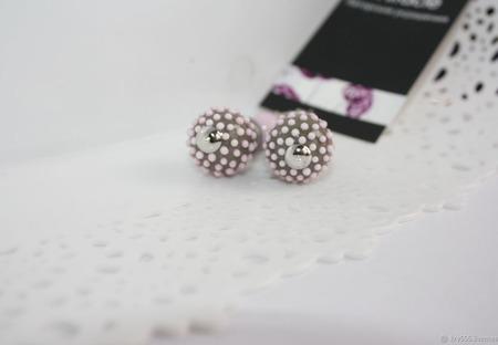 Серьги серебряные розово-серые ручной работы на заказ