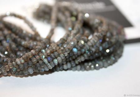 Браслет многорядный серебряный с лабрадором ручной работы на заказ