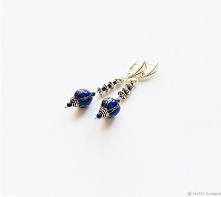 Серьги серебряные с лазуритом синие ручной работы на заказ