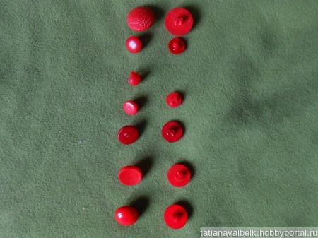 Пуговицы на ножке красные в ассортименте, за 20 шт. ручной работы на заказ