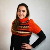 """Короткий полосатый свитер """"Цвета осени"""""""