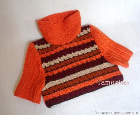 """Короткий полосатый свитер """"Цвета осени"""" ручной работы на заказ"""