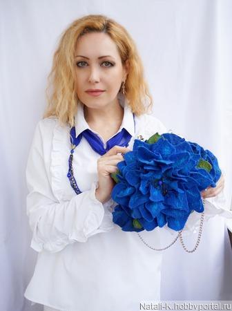 """Сумка валяная """"Синий Клематис"""" ручной работы на заказ"""