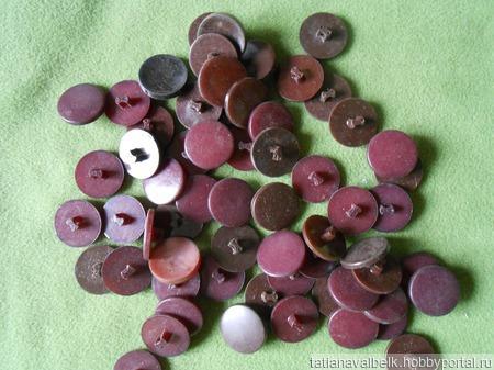 Пуговицы на ножке бордовые коричневые, за 10 штук ручной работы на заказ