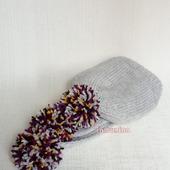 """Комплект шапочка и шарф с помпонами """"Нескучный серый"""""""