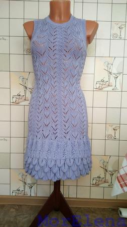 Платье, вязаное спицами ручной работы на заказ