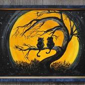 """Картина акрилом """"Свидание под луной"""""""