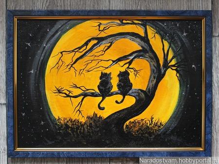"""Картина акрилом """"Свидание под луной"""" ручной работы на заказ"""