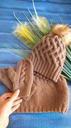 """Комплект """"Тройка"""" - шапка, снуд и варежки ручной работы на заказ"""