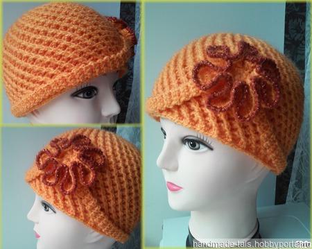 Женская шапка с цветком ручной работы на заказ