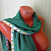 """Зеленый шарф ручной работы из ткани """"Кленовый лист"""""""