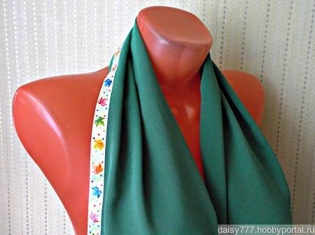 """Зеленый палантин ручной работы из ткани """"Кленовый лист"""" ручной работы на заказ"""