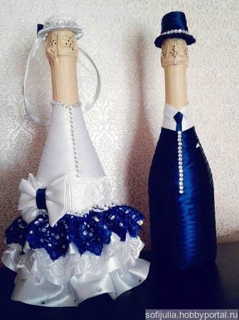"""Свадебные бутылки """"Жених и невеста"""" ручной работы на заказ"""