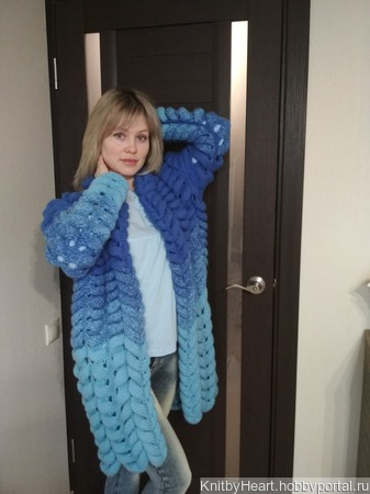 Вязаный кардиган Лало (Шиншилла) от Knit by Heart ручной работы на заказ