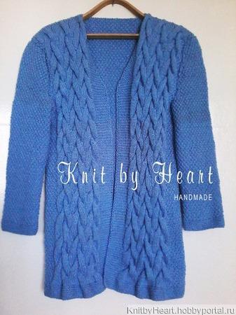 Модный вязаный кардиган длинный от Knit by Heart ручной работы на заказ
