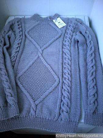"""Модный вязаный свитер """"Wave"""" крупной вязки от Knit by Heart ручной работы на заказ"""