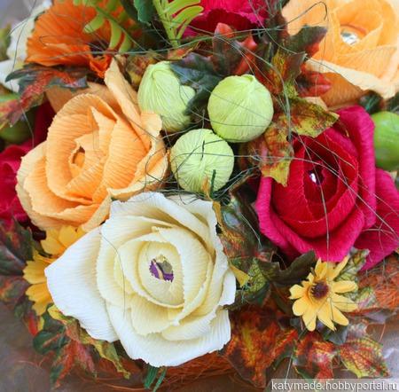 """Букет из конфет на 1 Сентября """"Оранжевая осень"""" ручной работы на заказ"""