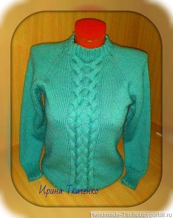 """Пуловер женский """"Мятный"""" ручной работы на заказ"""