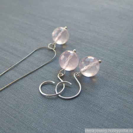 """Кулон на цепочке """"Sensation - pink"""" из серебра с розовым кварцем ручной работы на заказ"""