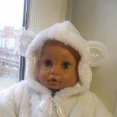 """Шубка для куклы (пупса) """"Белый медведь"""""""