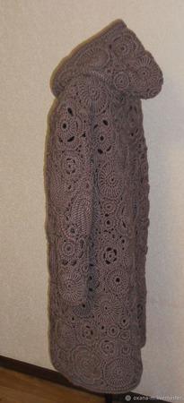 """Вязаное пальто - ирландское кружево """"Капучино"""" ручной работы на заказ"""
