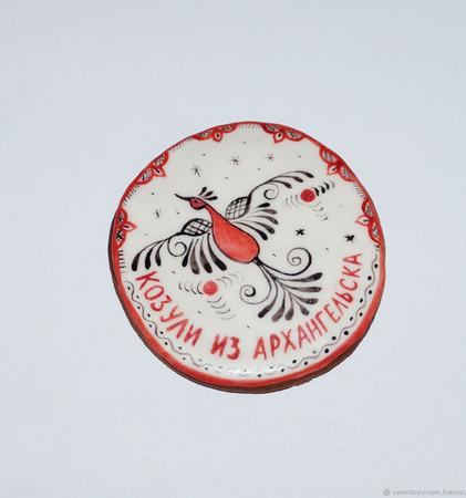 Пряник Козуля Архангельская с Мезенской росписью ручной работы на заказ