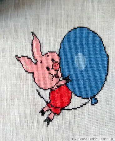 """Салфетка """"Пятачок и воздушный шар"""" ручной работы на заказ"""