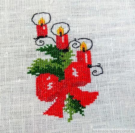 Салфетка Канделябр с тремя свечами ручной работы на заказ