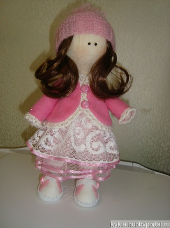 Кукла в розовой курточке ручной работы на заказ
