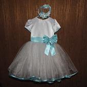 """Платье """"Нежность """"со  съемным бантом + ободок в подарок"""
