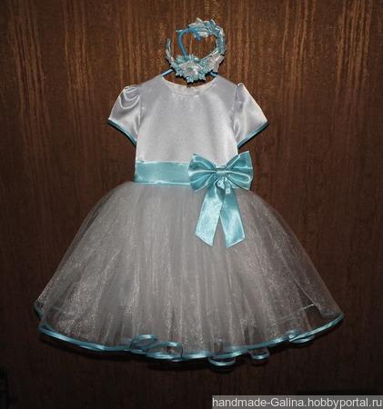 """Платье """"Нежность """"со  съемным бантом + ободок в подарок ручной работы на заказ"""