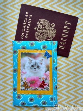 """Обложка на паспорт """"Котик"""" ручной работы на заказ"""