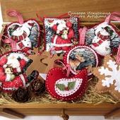Набор 7шт. елочных игрушек  Снеговик Дед Мороз в лесу