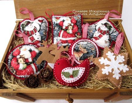 """Набор елочных игрушек """"Снеговик и Дед Мороз в лесу"""" ручной работы на заказ"""