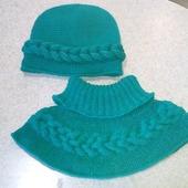 Комплект: шапочка, манишка и повязка Коса на голову