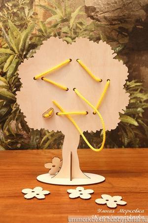 """Развивающая игрушка """"Шнуровка - дерево"""" ручной работы на заказ"""