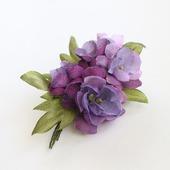 Брошь лиловый, сиреневый, фиолетовый букет цветов из ткани