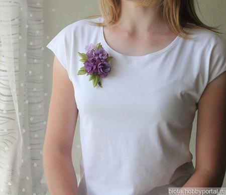 Брошь лиловый, сиреневый, фиолетовый букет цветов из ткани ручной работы на заказ