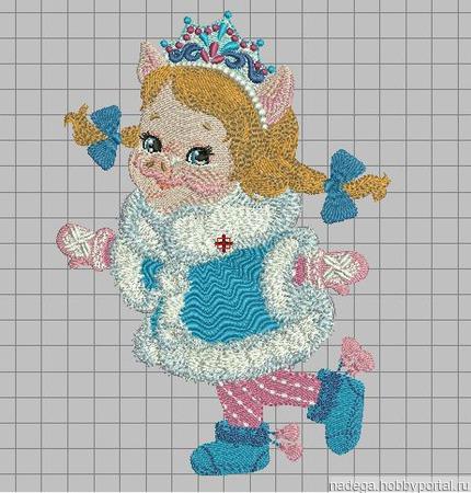 """Дизайн для вышивания """"Свинка снегурочка"""" ручной работы на заказ"""