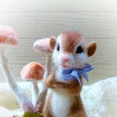 Интерьерная фигурка Войлочная мышка-малышка
