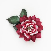 Брошь заколка вишнево-красный цветок георгина