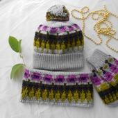 Комплект женский шапка+снуд+варежки