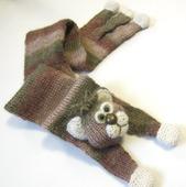 """""""Кооооот"""" шарф, вязание спицами, полушерсть"""