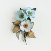 Брошь букетик цветов голубой бежевый