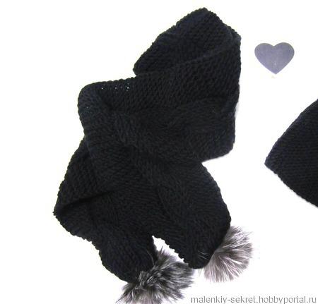 Шапочка и шарф с меховыми помпонами ручной работы на заказ