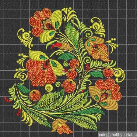 "Дизайн для вышивания ""Хохлома"" ручной работы на заказ"
