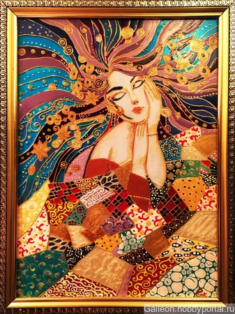 Картина по стеклу «Символ осени» ручной работы на заказ