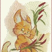 """Дизайн для вышивания """"Кот с камышами"""""""